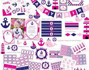 Nautical Invitation, Nautical Birthday Invitation, Nautical Printable, First Birthday Invitation, Girl Invitation, Pink invitation, Anchor