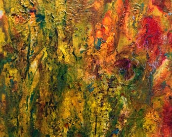 Summer Heat in the Garden an abstract mixed media painting