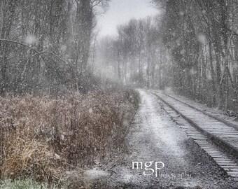 Train Photography in Winter -  8x12 Fine Art Photograph,  Landscape,  Nature, Winter, Monochromatic, Wall Décor, railroad, trees, snow
