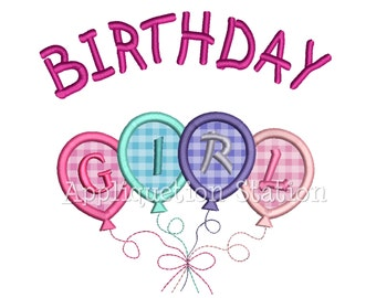 Birthday Girl Balloons Applique Machine Embroidery Design INSTANT DOWNLOAD