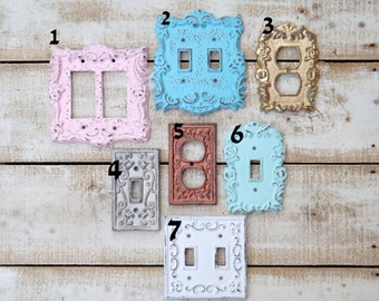 Light Switch Cover~Outlet~GFI~Shabby Chic Light Switch Cover ~Light Plate~Double Light Switch / Shabby Chic Nursery