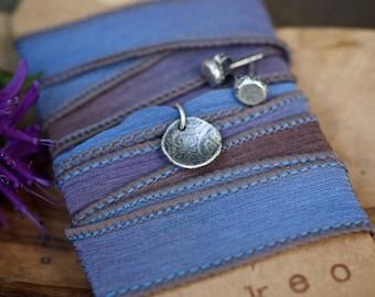 Silk bracelet, Silk wrap, Nugget Studs, purple silk, paisley charm, sterling charm, yoga jewelry