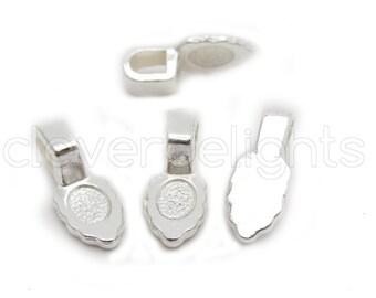 50 Leaf Bails - 16x6mm - Shiny Silver Color - Small Glue On Bails - Scrabble Glass Pendants Scallop Edge Tibetan Bails - 5/8 x 1/4 inch