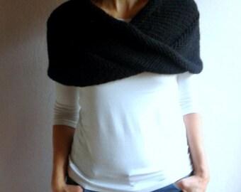 Chunky Cowl Loop Scarf Hood Shawl Neckwarmer in Black, Winter Accessories