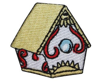 ID 3123A Decorative Bird House Patch Nature Watch Embroidered Iron On Applique