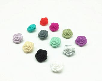 50/20 pieces/lot 12 colors silicone bead wholesale Hot Sale 21mm Double-faced Rose Flower Silicone Beads Teething For Necklace BPA Free
