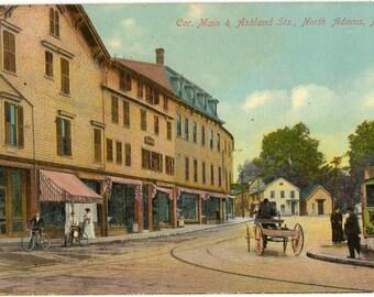 Vintage Postcard, North Adams, Massachusetts, Corner of Main and Ashland Streets, 1910