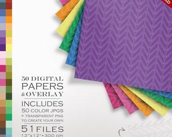 80% OFF SALE Digital Scrapbook Modern Narrow Chevron Paper Pack - 50 Colors & Overlay to DIY - Digital Scrapbook Paper Digital Paper Pack