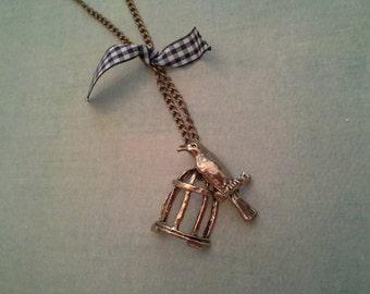 Bird and Birdcage Bronze Tone Necklace
