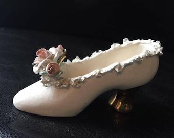 Vintage Porcelain Minature Shoe Marked Geraldine Calif