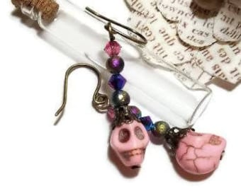 Day of the Dead//Dia de Los Muertos Light Pink Howlite Beaded Skull and Antique Brass Dangle Earrings