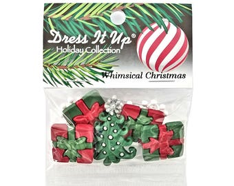 Christmas Whimsical Christmas Presents Tree Novelty Buttons Jesse James Dress it Up Theme Pack