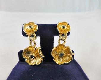 Gold Flower Dangle Post Back Earrings