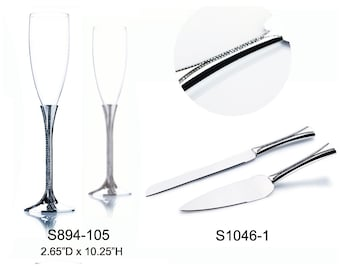 Wedding Toasting Flutes Champagne Knife and Wedding Cake Server Set Silver Personalized Engraved