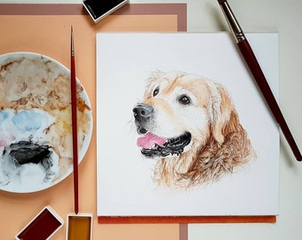 I'm New! Custom Pet Portrait, Dog Portrait, Cat Portrait, Pet Portrait, Watercolour Painting