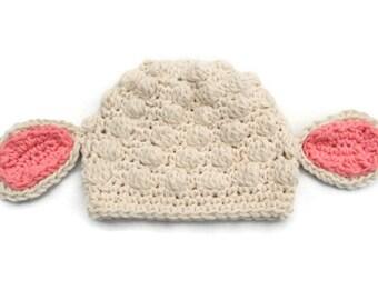 Crochet Baby Lamb Hat, Crochet Baby Animal Hat, Baby Animal Prop