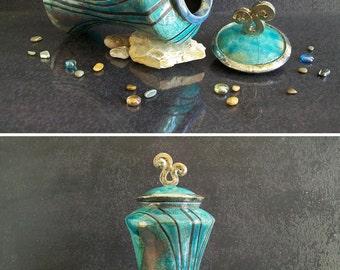 Raku pottery urn, pagoda urn, keepsake urn for human urn or pet urn, cremation urn, personalized urn, funeral urn, memorial urn