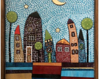 "Stained glass, mixed media, mosaic wall art named ""HOUSES"" 55x70 cm"