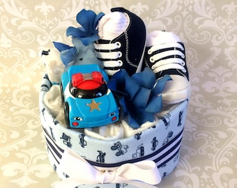 Baby Boy one tier Car themed Blanket Diaper Cake - an adorable baby shower gift, available now
