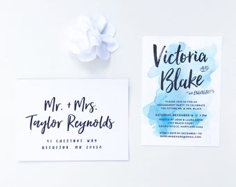 Watercolor Splash Engagement Party Invites / Bright Blue / Hand Lettering / Semi-Custom Party Shower Invites / Printed Invitations
