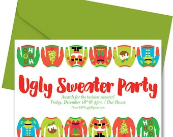 Ugly Sweater Party Invitation - Printed & Shipped