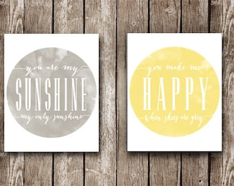 """You are My Sunshine My Only Sunshine - Printable set - Instant Download - 8x10"""" AND A4"""
