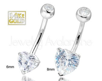 14Kt Gold Heart Belly Ring, 14G Belly Button Ring, Banana Barbell Navel Ring, 14kt White Gold, 14kt Yellow Gold, Navel Piercing Jewelry