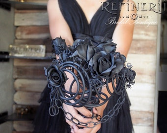 Goth Wedding Bouquet: A Black Rose and Chain Arrangement