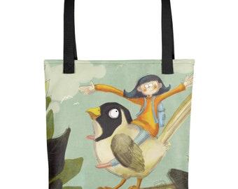 Tote bag, Bird with Girl Bag, Books Bag, Groceries Bag, All purpose Bag, Totebook
