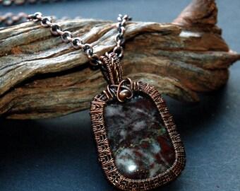 Stone Pendant, Norwegian Pyrite in Jasper, Wire Wrapped Jewelry, Antiqued Copper Wire Weave Cabochon, Dark Red & White with Metallic Flecks