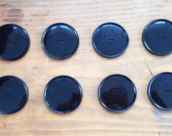 Vintage Eight Large Black Buttons, circa 1950's/60's