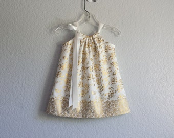 Baby Girls Gold Pillowcase Dress with Bloomers - Metallic Gold Flowers on Cream - Babys Gold Party Dress - Size NB, 3m, 6m, 9m, 12m or 18m