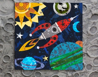 Space Traveler - Planet, Rocket and Solar System wall art decor for boys rooms, playrooms and for the junior astronomer.