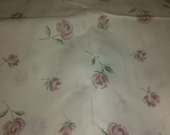 White Cotton Fabric with Purple Roses