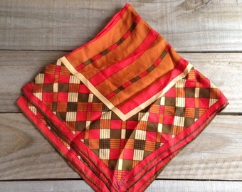 Vintage Vera Scarf, Head or Neck Scarf, Square Scarf, Fall Colors