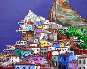 "Favela colors Rio de Janeiro Brazil Corcovado, Original Painting on canvas,18""x 24"", Free Shipping in USA."