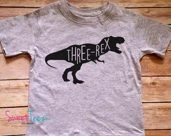 Third Birthday Shirt Three rex  Shirt Dinosaur Birthday Shirt Boy Girl Heather Tshirt Kids Toddler Top Shirt