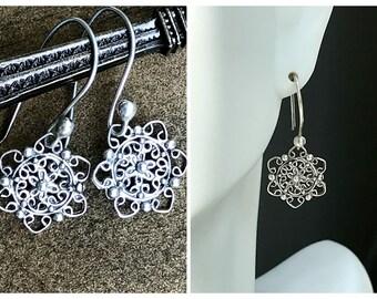 Filigree earrings. Sterling silver earrings. Minimalist earrings. Everyday earrings. Gift for her.