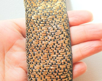 Black And Gold Shimmer Lace Trim, Approx. 43mm wide - 140316L84