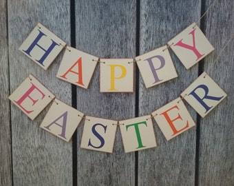 Happy Easter banner, easter decorations, easter banner, bunny easter banner, colorful easter banner, easter garland, easter sign, ideas