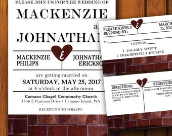 Rustic Wedding Set / Industrial Wedding Suite / Brick Wedding Invitation / Industrial  /  Brick  / Wedding / Industrial