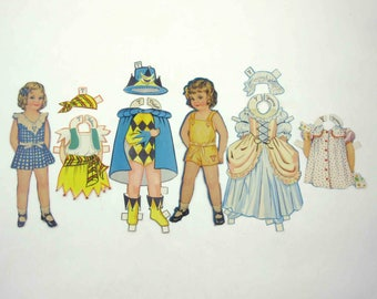 Vintage Paper Dolls Cute Little Girls Named Thelma and Yvonne and  7 Outfits