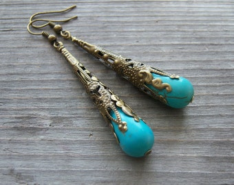 TURQUOISE Earrings/Antique Brass Filigree Long Cone Earrings/Long Cone Earrings/Beautiful Turquoise Earrings