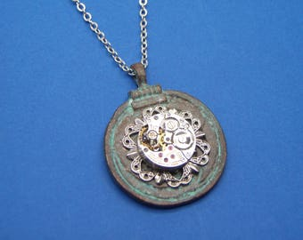 Mykonos Watch Movement Pendant Necklace