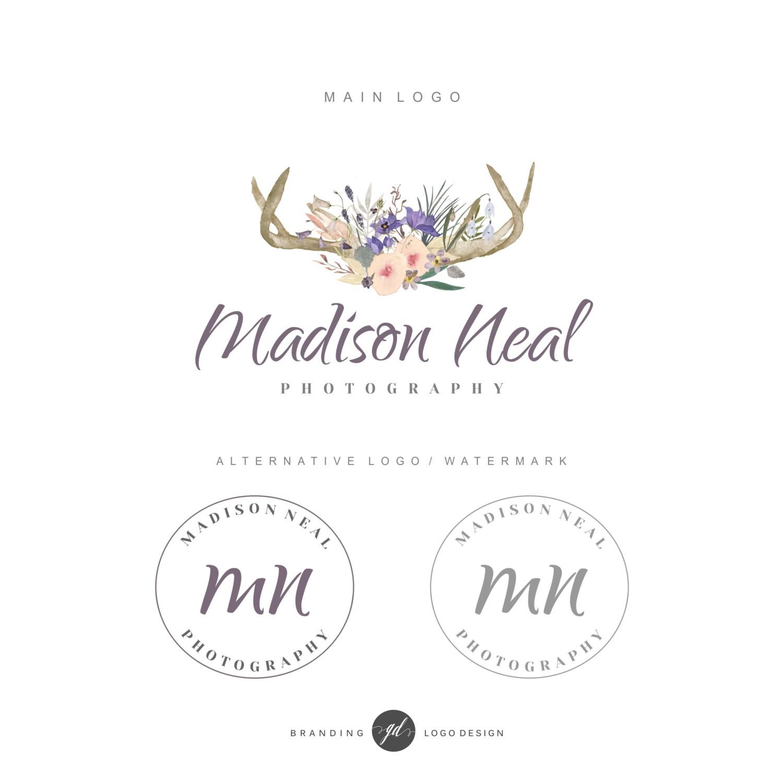premade logo design deer antler logo branding kit flowers rh etsy com deer antler lights uk deer antler light