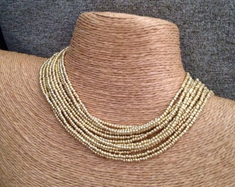 Gold beaded necklace, gold seed bead multi-strand necklace, gold bridesmaids, gold necklace, bridesmaids necklace, gold multi-strand necklac