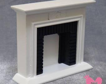 Dolls House Miniature Modern White Fireplace