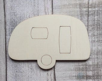 Pack of ten laser cut adorable miniature small caravans use as embellishments, also available with one hole, two holes or without hole
