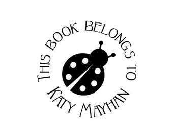 Ladybug this book belongs to Custom Ex Libris Rubber Stamp Bookplate