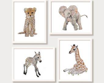 Safari Nursery Decor Set of 4 Safari Animal Prints Boy Girl Nursery Art Watercolor Prints Zoo Baby Elephant Giraffe Zebra Cheetah Gift